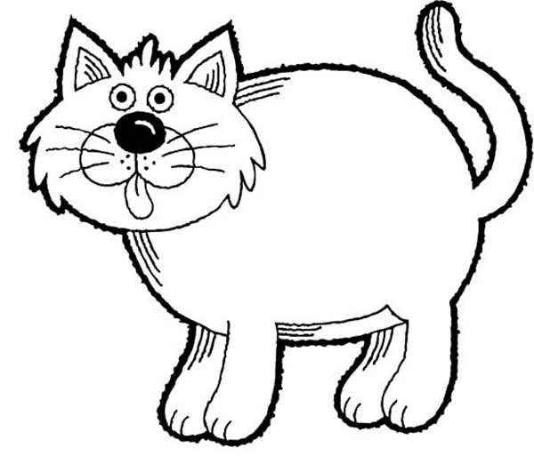 A Funny Drawing Of Fat Kitty Cat Coloring Page : Kids Play
