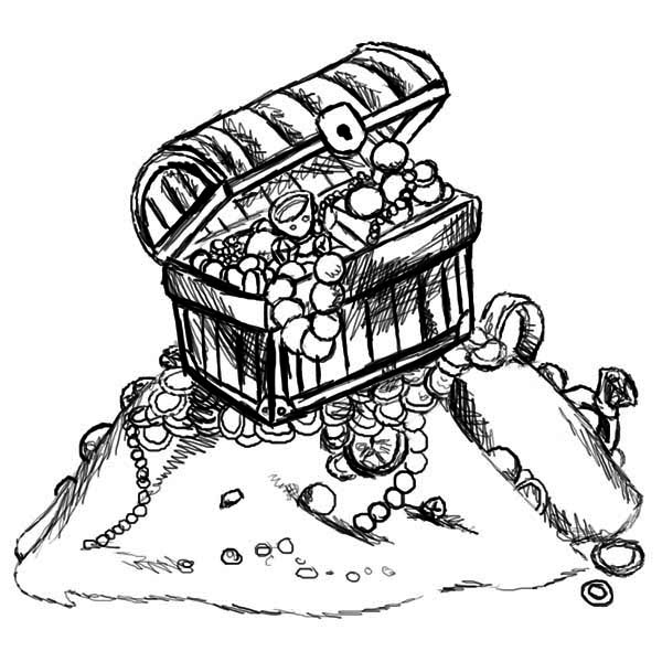 A Sketch Drawing Of Treasure Chest Coloring Page : Kids