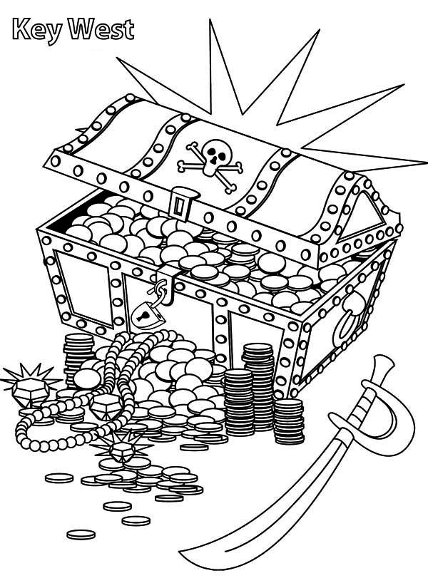 A Treasure Chest With Pirate Marks Coloring Page : Kids