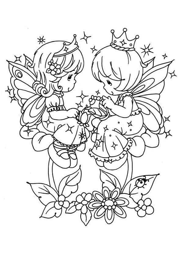 Angels Playing Love Song Precious Moments Coloring Page