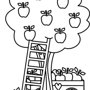 Apple Tree And Grass Coloring Page : Kids Play Color