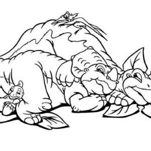 Land Before Time Happy Group Coloring Page : Kids Play Color