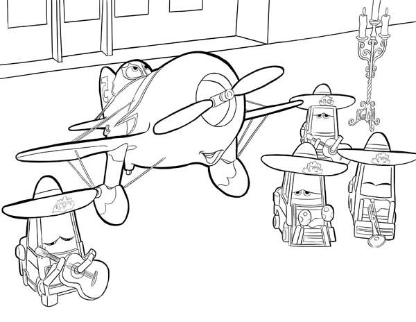 El Chupacabra And His Team In Disney Planes Coloring Page