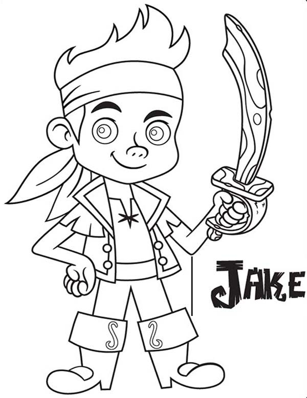 Jake With His Wooden Sword From The Forever Tree Coloring