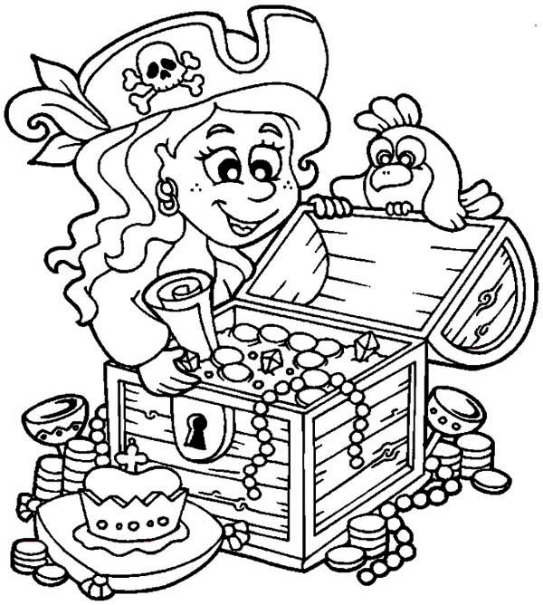 Little Pirate Girl And Her Treasure Chest Coloring Page