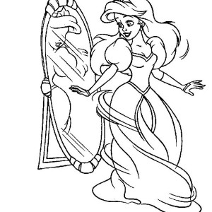 Ariel Holding A Flower On Disney Princesses Coloring Page