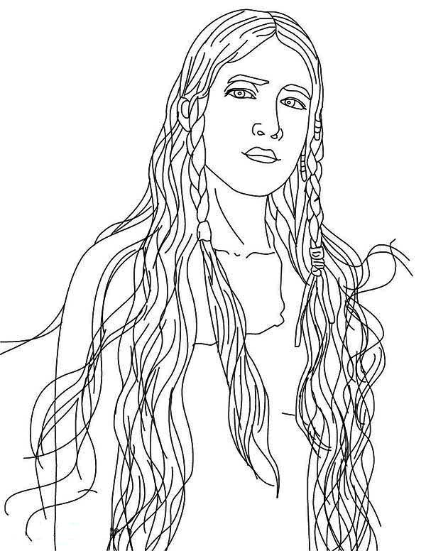 Beautiful Native American Girl Coloring Page : Kids Play Color