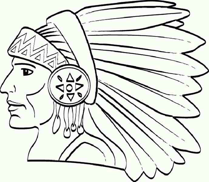 Chief Native American Apache Tribe Coloring Page : Kids