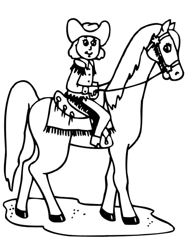 Cowgirl Riding A Horse Coloring Page : Kids Play Color