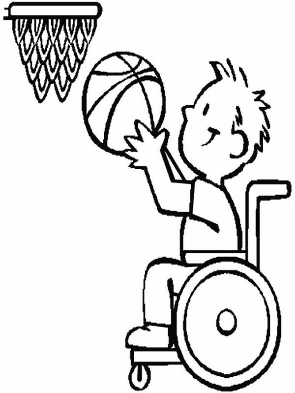 Disability Basketball Athlete Coloring Page : Kids Play Color