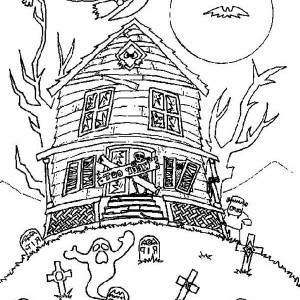 Ghost Kingdom In Haunted House Coloring Page : Kids Play Color