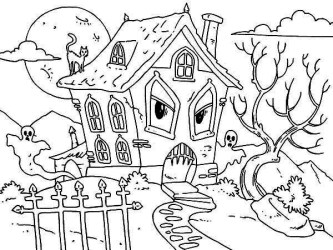 haunted coloring monster pages ghost halloween cat printable colouring houses drawing hideous monsters sheets template pictuure hay kidsplaycolor getcoloringpages scribblefun