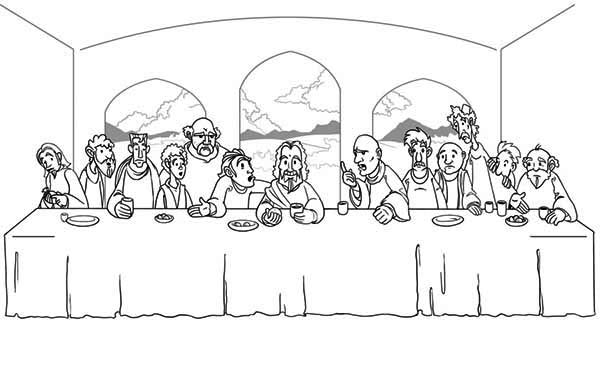 Jesus And His Disciples Share A Meal In The Last Supper