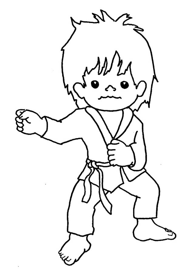 Karate Kid Punching Techniques Coloring Page : Kids Play Color