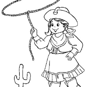 Beautiful Country Cowgirl Coloring Page : Kids Play Color