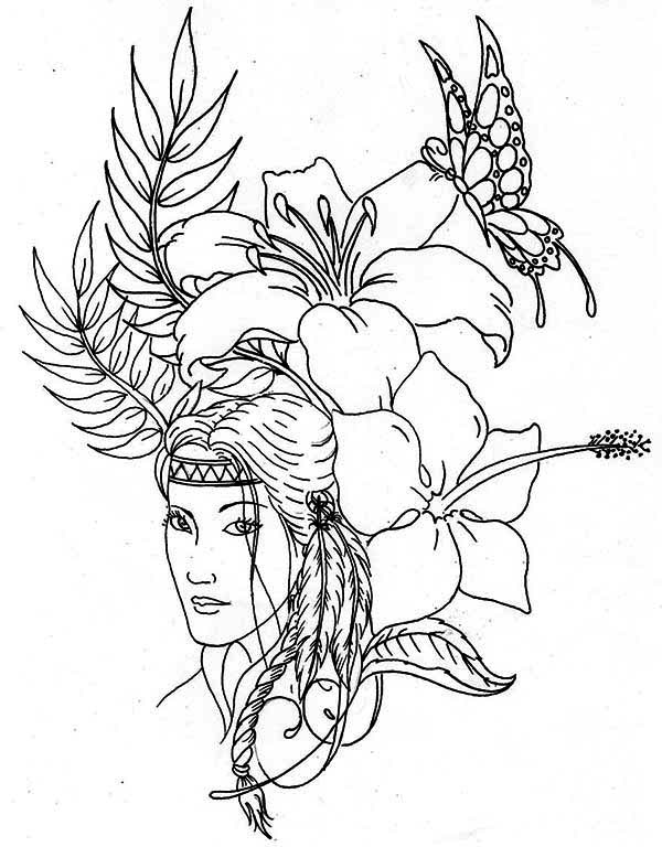 Lovely Native American Coloring Page : Kids Play Color