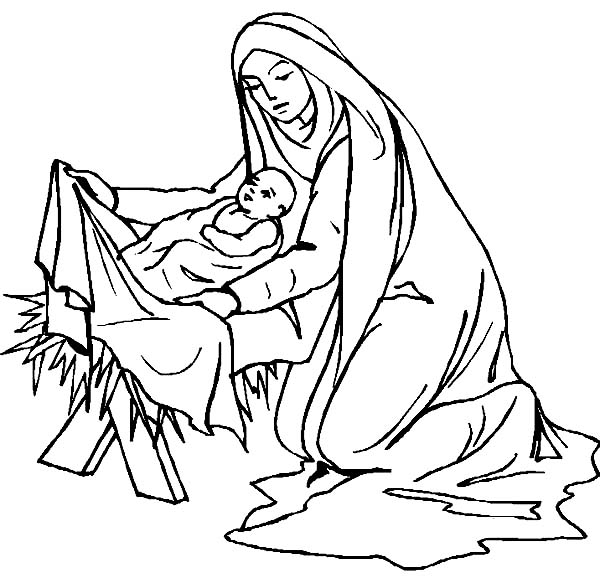 Mary Covered Baby Jesus Body With Fabric Coloring Page