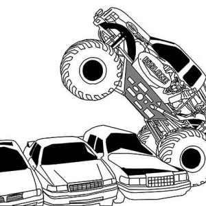 Monster Truck Bigfoot Flames Coloring Page : Kids Play Color