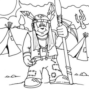Native American Warrior Coloring Page : Kids Play Color