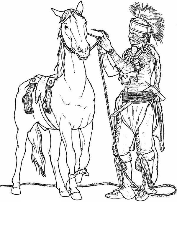 Native American Preparing His Horse Coloring Page : Kids