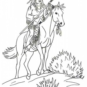 Awesome Native American Chief Poster Coloring Page : Kids