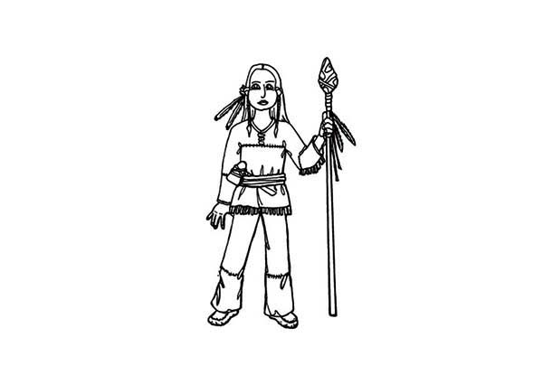 Native American And Spears Coloring Page : Kids Play Color