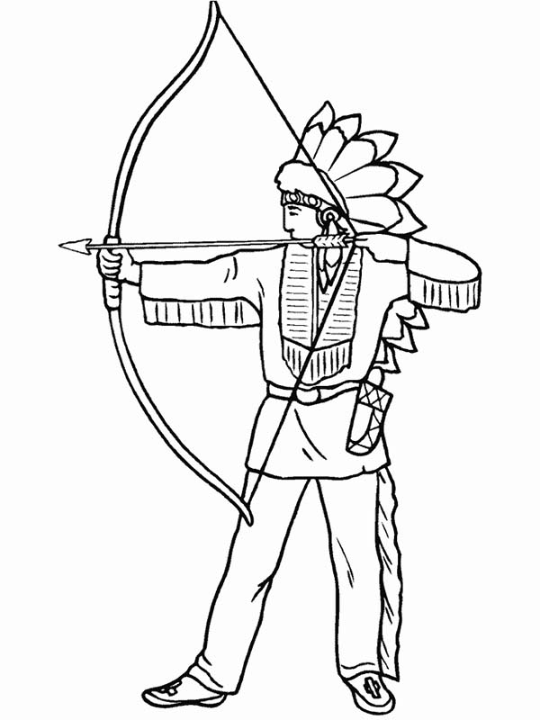 Native American Is Firing Shortbow Coloring Page : Kids