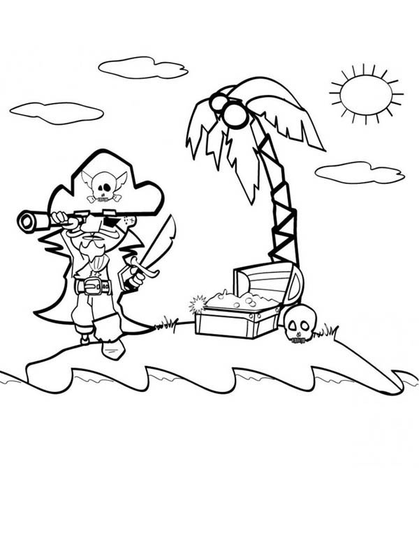 Pirate Find Gold With Treasure Map Coloring Page : Kids