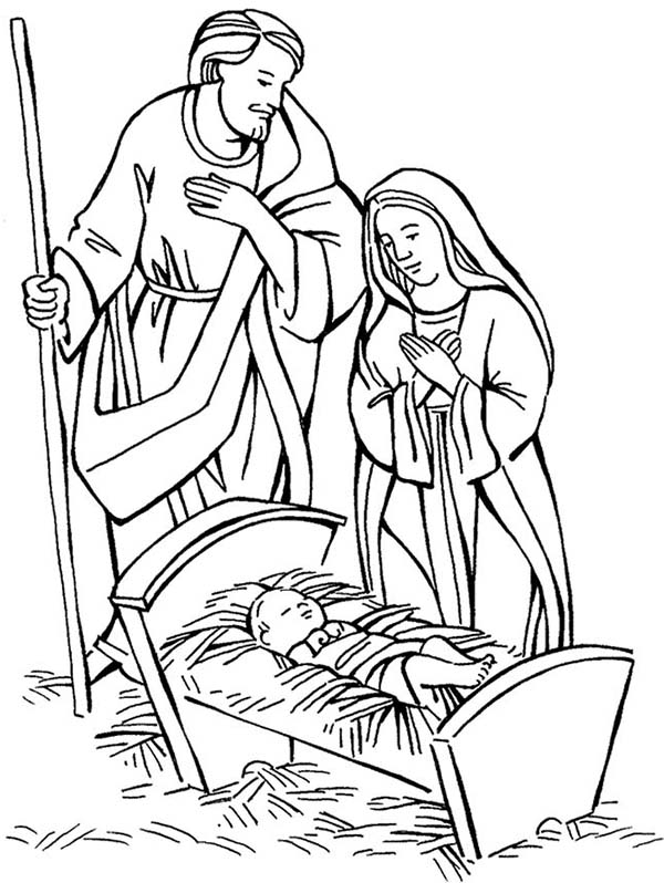 Shepherd And Mary Adore Baby Jesus Coloring Page : Kids