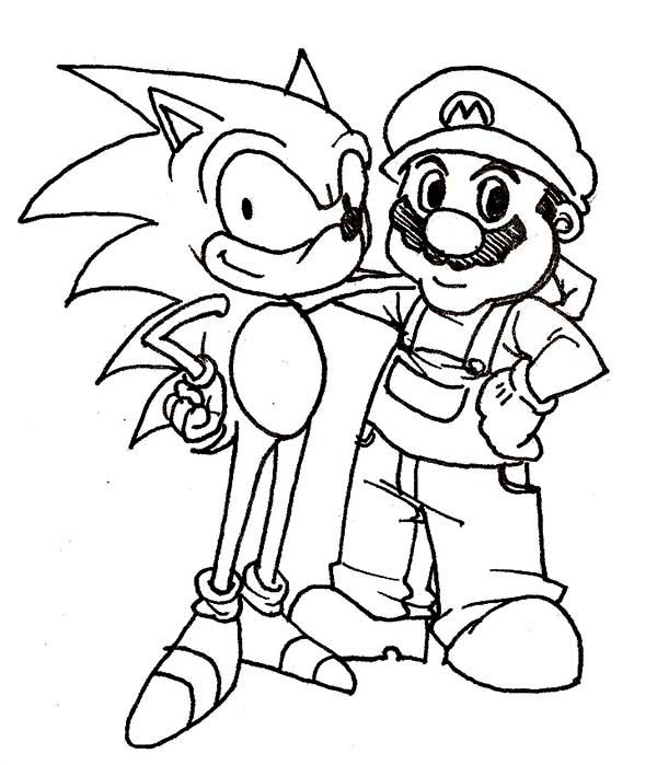 Sonic The Hedgehog And Mario Coloring Page : Kids Play Color
