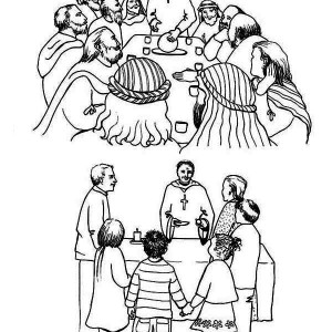 Cartoon Depiction Of The Last Supper Coloring Page : Kids