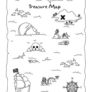 Awesome Treasure Map Coloring Page : Kids Play Color