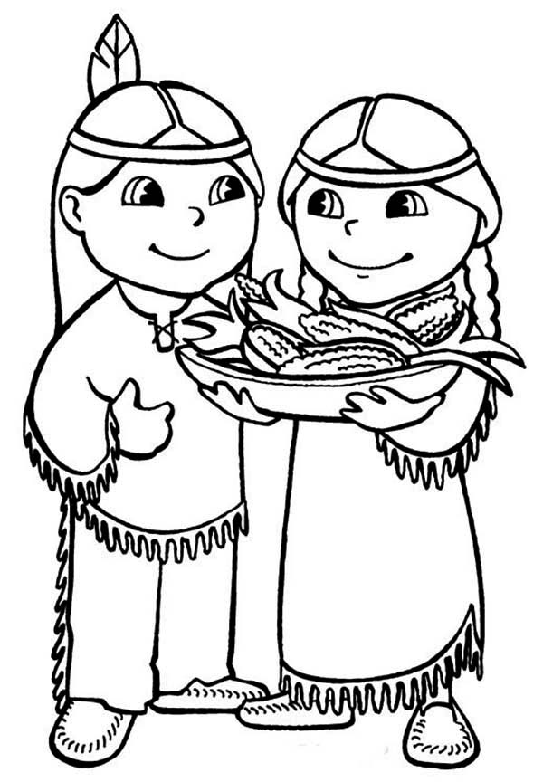 Two Cute Native American Serving Food Coloring Page : Kids