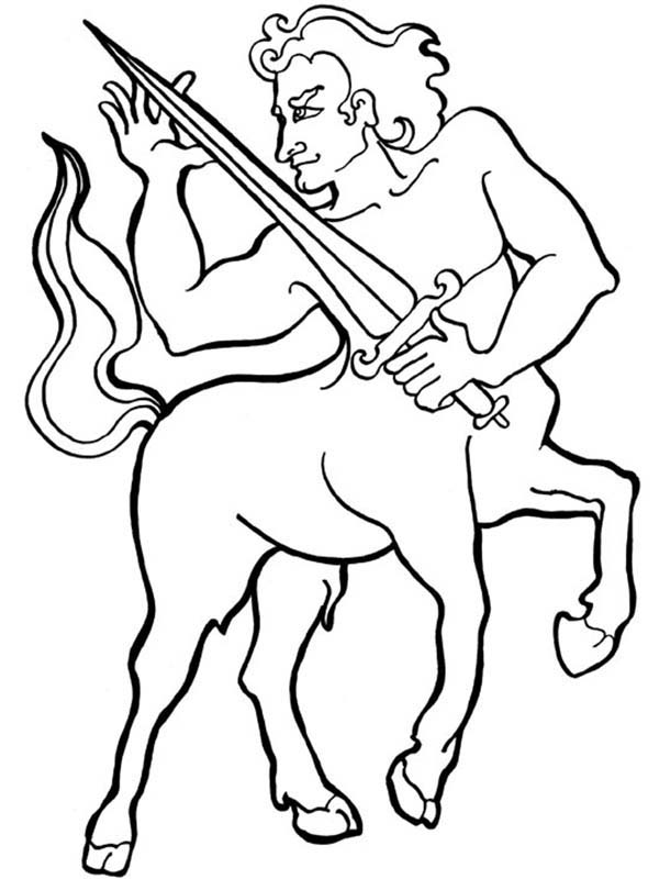Centaur Knight With Sharp Sword Coloring Page : Kids Play