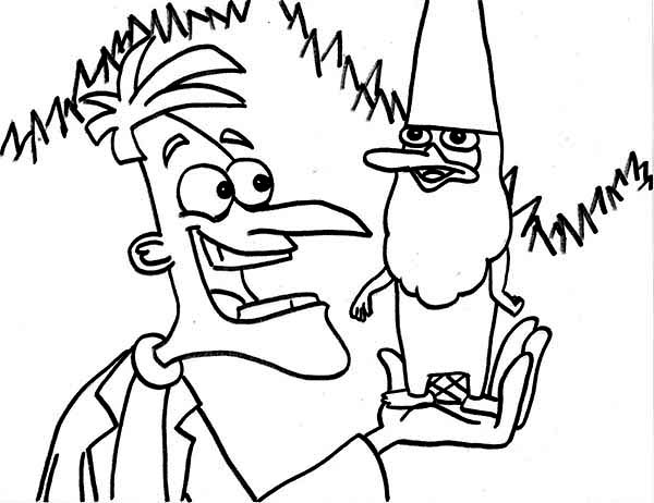 Dr Doofenshmirtz With Agent P Undercover As Gnome In In