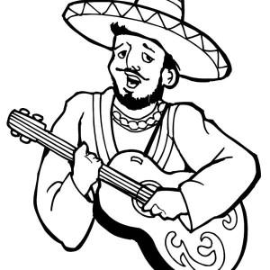 Mexica Sombrero And Maracas In Mexican Fiesta Coloring