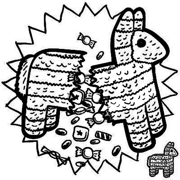 Mexican Pinata Full Of Candy Coloring Page : Kids Play Color