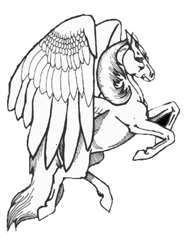 Realistic Drawing Of Pegasus Coloring Page : Kids Play Color