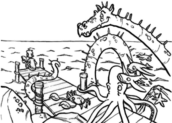 Sea Monster And Fisherman Coloring Page : Kids Play Color