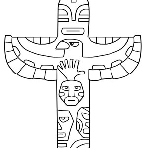 A Bird Perched On A Totem Poles Coloring Page : Kids Play