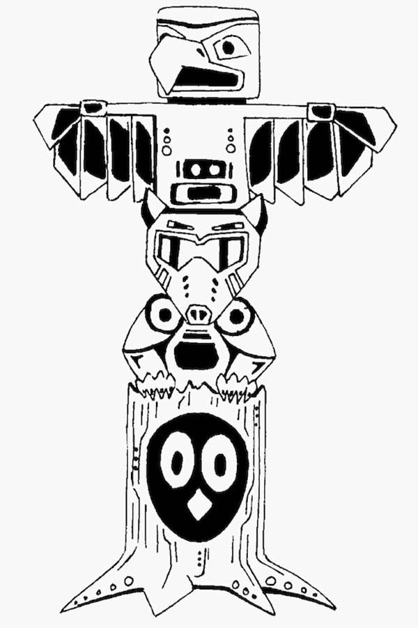 Totem Poles Vector Coloring Page : Kids Play Color
