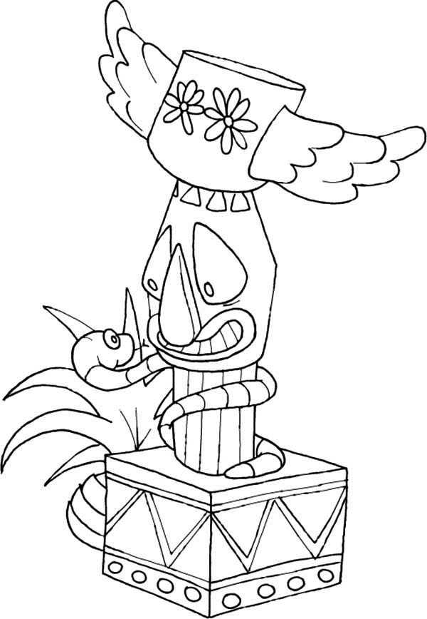 Totem Poles Wrapped By Snake Coloring Page : Kids Play Color