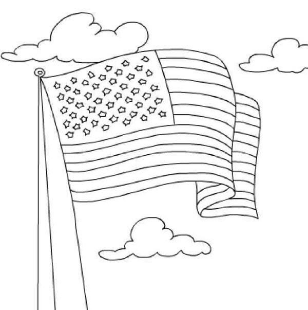 United State Nation Flag Coloring Page : Kids Play Color
