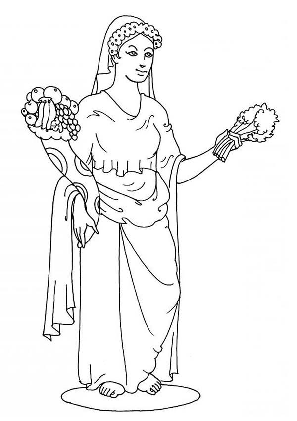 Aphrodite Greek Goddess Coloring Page : Kids Play Color
