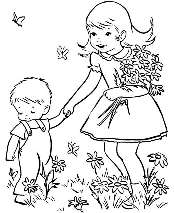 Bring Little Brother Play At The Garden In Spring Coloring