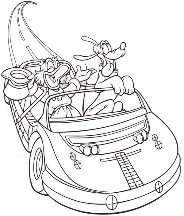 Scrooge Mcduck Test Drive His New Car With Pluto Coloring