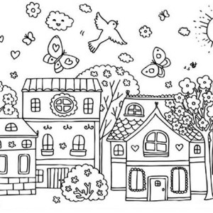 Kids Playing Kite On Spring Time Coloring Page : Kids Play