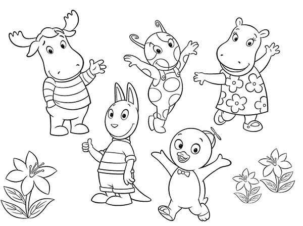 the backyardigans all characters coloring page  kids play
