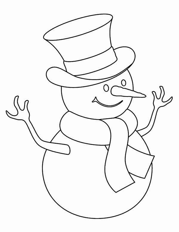 Childrens Drawing Of Mr Snowman On Christmas Coloring Page