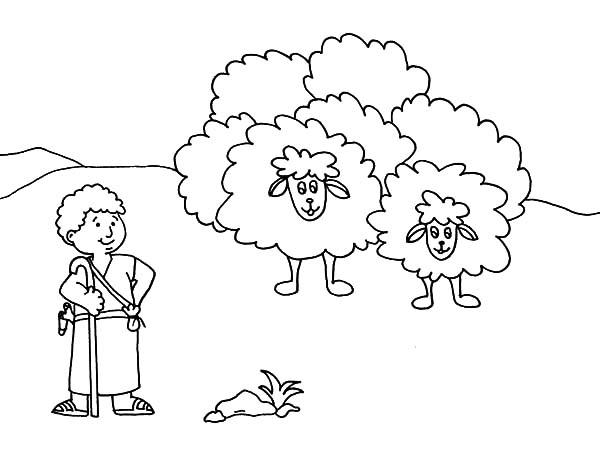 Cartoon David The Shepherd Boy Coloring Pages : Kids Play